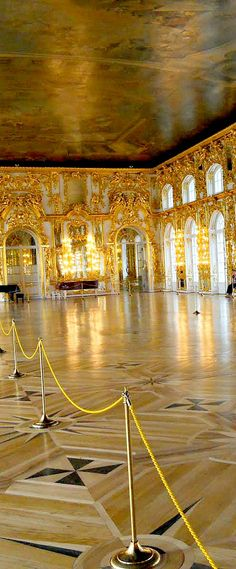 Grand Hall of Royal residence of Empress Catherine in Pushkin