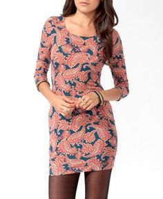 Paisley Print Bodycon Dress (Teal/Rust). Forever 21. $11.80