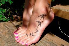 I love bird tattoos and foot tattoos! So cool!