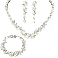 EVER FAITH® Simulated Pearl Crystal Bridal Necklace Earrings Bracelet Set Gold-Tone Ivory Color