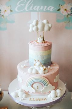 Unicorn cake from a Unicorns, Rainbows and Clouds Birthday Party on Kara's Party Ideas | KarasPartyIdeas.com (17)