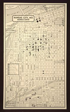 Kansas City Missouri Berry street car antique vintage map 1914