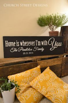 Custom Last Name & Established Date Sign - Home Is Wherever I'm With You - Hand Painted Sign - Wedding, Anniversary or Family Sign - by Church Street Designs