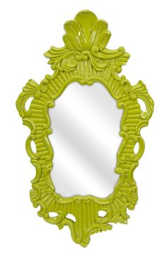 "In a vivid green baroque style frame, the Finely wall mirror adds a vintage style to any space. Product Description • Product Dimensions: 31.75"" H x 18.75"" W x 1.5"" D • Product Re-Shipper Dimensions:"