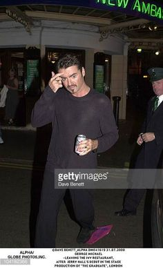 George Michael Leaving The Ivy Restaurant After Jerry Hall's Debut In The Stage Production Of 'The Graduate' London