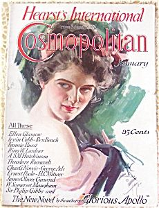 $75 vintage 1910's Lady in pink Headband Harrison Fisher Magazine art Cosmo cover