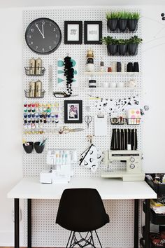 Craft room pegboard ideas tips ideas craft You are in the right place abou .Craft room pegboard ideas tips ideas craft You are in the right place about pegboard ideas shed Here we Craft Room Storage, Bedroom Storage, Diy Storage, Storage Ideas, Storage Solutions, Diy Bedroom, Craft Rooms, Bedroom Wall, Wall Storage