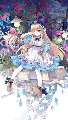 alice alice in wonderland anime cute fantasy girl japanese key Disney Kunst, Arte Disney, Disney Art, Loli Kawaii, Kawaii Anime Girl, Anime Girls, Chibi, Fantasy Girl, Adventures In Wonderland