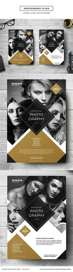 Photography Flyer by PandeRunata PSD Designs Size In) In Bleed area CMYK Color Mode 300 DPI High Resolution Easy to edit and fully c Layout Design, Flugblatt Design, Buch Design, Creative Design, Layout Print, Cover Design, Photography Flyer, Book Photography, Photography Marketing