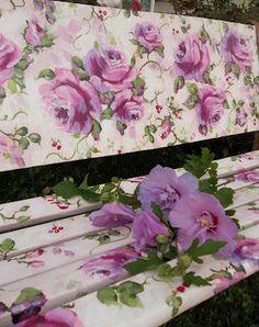 Beautiful garden bench -Decoupage and good sealant!