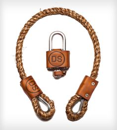 Natural Hemp Bicycle Lock - Key Lock by Dalman Supply Co. on Scoutmob Shoppe Bicycle Lock, Bicycle Parts, Leather Camera Strap, Key Lock, Bike Accessories, Bike Design, Leather Working, Leather Craft, Cycling
