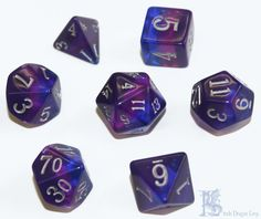 HD Storm Nebula Poly 7 Dice RPG Set Red 5e Pathfinder Dungeons Dragons Role Play