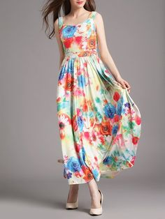 Sleeveless A-line Casual Floral-print Maxi Dress
