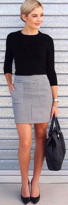 #fall #work #outfits | Black Top   Houndstooth Print Skirt