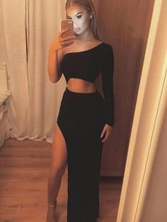 Sexy Black One Shoulder Two Pieces Long Evening Prom Dresses Evening Dress Long, Prom Dresses Black, Prom Dress, Sexy Evening Dress, Two Pieces Prom Dresses Prom Dresses 2019 Black Prom Dresses, Sexy Dresses, Cute Dresses, Cute Outfits, Dress Prom, Dress Black, Party Dresses, Long Dresses, Elegant Dresses