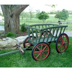 Amish Made Large Painted Goat Wagon