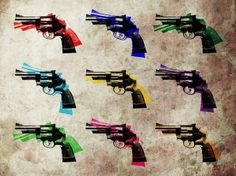 """""""Nine Revolvers"""" by Michael Tompsett, Castellon // Magnum .44 Revolvers Pistols Guns Arms Pop Art // Imagekind.com -- Buy stunning, museum-quality fine art prints, framed prints, and canvas prints directly from independent working artists and photographers."""