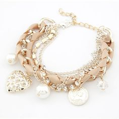 Bracelets For Women Fashion Simulated Pearl Heart Charm Bracelets  Bangles Pulseiras Femininas Pulseras Bijoux Men Jewelry Like and Share if you agree! Visit our store