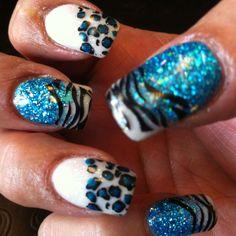 Cheetah & Zebra  Custom Colored Acrylic with Animal Print Nail Tattoos Nail Design By: Mart www.nakedsun.net