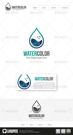 Water Color Logo Template 01 — Photoshop PSD #aquatic #water drop • Available here → https://graphicriver.net/item/water-color-logo-template-01/7996043?ref=pxcr