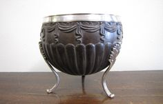 GEORGE III SILVER MOUNTED CARVED COCONUT VESSEL