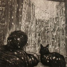 Man And Cat Drawing/ Aleksey Zuev -- these are by a 32 year old Russian guy. I thought they were really old!