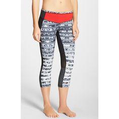 Zella 'Live In - Method' Slim Fit Capris ($39) ❤ liked on Polyvore featuring activewear, activewear pants, black floral stripe, zella sportswear, zella activewear and zella
