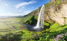 Seljalandsfoss Waterfall, Iceland    This waterfall is 60meters tall, it looks beautiful as it falls down from the cliffs and its suppose to be one of the most picturesque waterfalls of Europe.