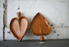 Wood Leaf Plates Set of 2 Mid Century Modern Tidbit by susantique, $33.00