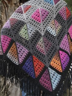 """Marc Shagall"" (knitted shawl, wrap, knitting lace, wool shawl, modular squares, patchwork, stained-glass)"