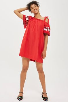 Embroidered Poplin Bardot Dress
