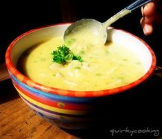 Quirky Cooking: Creamy Chicken & Brown Rice Soup  SO GOOD!! add more chicken and use corn instead of peas. amazing to thick and creamy
