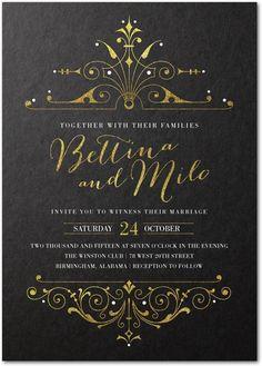 Lavishly Illuminated - Signature Custom Wedding Invitations in Dijon or Light Gray | Stacey Day