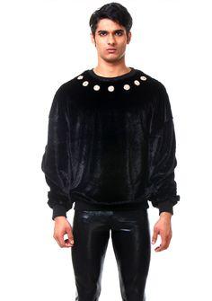 8118805100138c opulence sweatshirt black fur fashion style man www.rubengalarreta.com