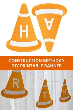 Modern Construction Birthday Banner Printable for a Construction Birthday Party – Merriment Design Printable construction happy birthday banner for a construction birthday party – just type to personalize and print Construction Party Supplies, Construction Party Decorations, Construction Birthday Parties, Cars Birthday Parties, Construction Crafts, Construction Business, Construction Design, Printable Birthday Banner, Diy Birthday Banner
