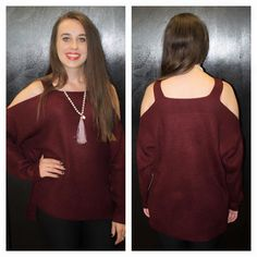 """Cold Shoulder"" Burgundy Knitted Sweater S, M $42.00 http://www.smalltowngypsy.com/catalog.php?item=4643"