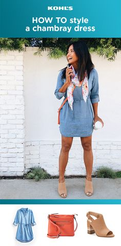 Chambray all day! Because sometimes the cutest spring looks are also the easiest. All you need is your new favorite chambray dress, a colorful carryall and some peep-toes (go ahead—show off that pedi!). Want a little something extra? Just add a floral scarf and you're ready to take on the world. Find your spring style with Kohl's. #chambray #outfitideas