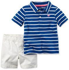 Carter's Toddler Boys' 2-Pc. Striped Polo Shirt & Shorts Set