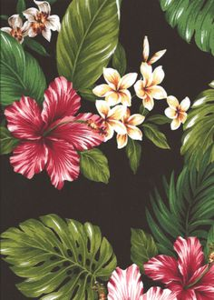10naholo Bird of Paradise, hibiscus, ginger with orchid flowers, cotton vintage Hawaiian apparel fabric.Add Discount code: (Pin10) in comment box at check out for 10% off sub total at BarkclothHawaii.com