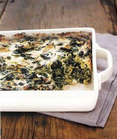 Spinach and Gruyère Gratin recipe: Take creamed spinach a step further by adding nutty Gruyère and Parmesan and baking until brown and bubbly.