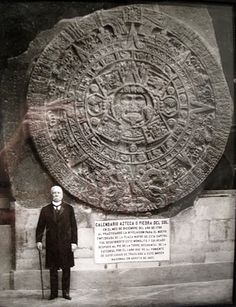 Aztec - Mexico City - Porfirio Díaz standing next to the Aztec Sun Stone. The Aztec calendar stone, Mexica sun stone, Stone of the Sun (Spanish: Piedra del Sol), or Stone of the Five Eras, is a large monolithic sculpture that was excavated in the Zócalo, the main square of Mexico City, on December 17, 1790. It was discovered while Mexico City Cathedral was being repaired. The stone is approximately 12 feet across and weighs approximately 24 tons.
