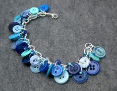 Button Charm Bracelet  Blue by randomcreative on by randomcreative, $22.00