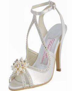 ElegantPark Women High Heel Pumps Peep Toe Pearls Straps Bridal Wedding Sandals Ivory US 7 Wedding Sandals For Bride, White Wedding Shoes, Bridal Sandals, Bridal Shoes, Ivory Wedding, Ankle Strap High Heels, High Heel Pumps, Ankle Straps, Ivory Sandals