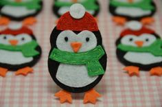 Set of 6pcs handmade felt penguinblack FT902 por AsecInc en Etsy, $5.89