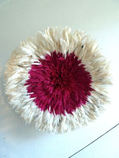 Juju Hat - Bamileke Feather Headdress - White & Fuchsia