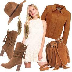 Outfit+in+stile+western+con+dettagli+romantici.+Vediamo+come+si+compone:+il+mini+dress,+bianco+ricamato,+è+di+taglio+semplice+e+scivolato,+e+viene+abbinato+a+capospalla+ed+accessori+in+camoscio.+Gli+accessori+si+compongono+da:+borsa+pouch+bag,+cappello+texano,+e+stivali+all'indiana.+Il+look+è+rifinito+da+orecchini+che+richiamano+anch'essi+lo+stile+indiano.