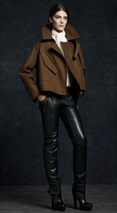 black leather & brown high collar- Belstaff F/W 2012-13