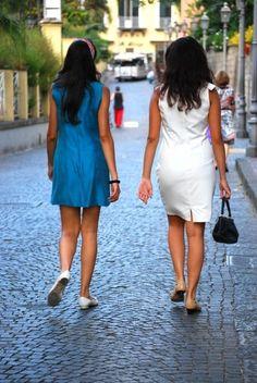 Luisa and Naima for Gioco di Donne: Blue and White Tubino in Sorrento