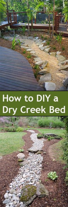 DIY Dry Creek Bed Ideas for your landscape.  Beautiful ways to add a creek to your yard or landscape without adding water.: