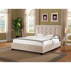 Upholstered Queen Panel Bed Tufted Headboard Platform Frame Bedroom Taupe Size…